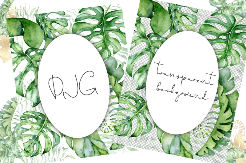 35-tropical-arrangements-watercolor-jungle-clipart