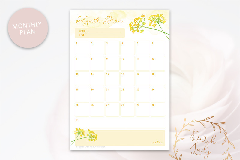 printable-planner-pack-day-week-month-schedule-yellow-flowers