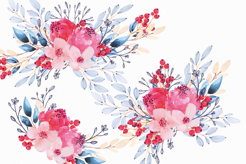 navy-blue-and-red-nbsp-watercolor-floral-arrangements