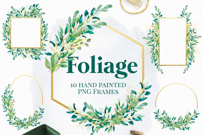 foliage-gold-frames-watercolor-greenery