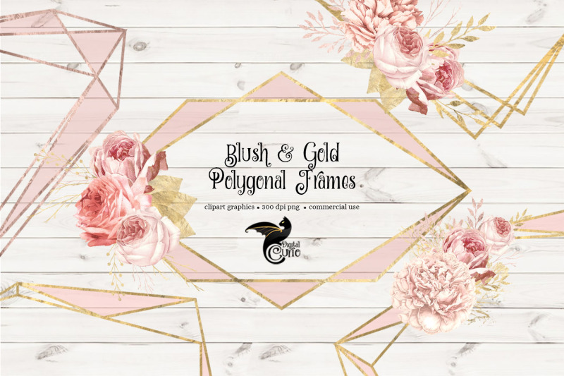 blush-and-gold-polygonal-frames-clipart