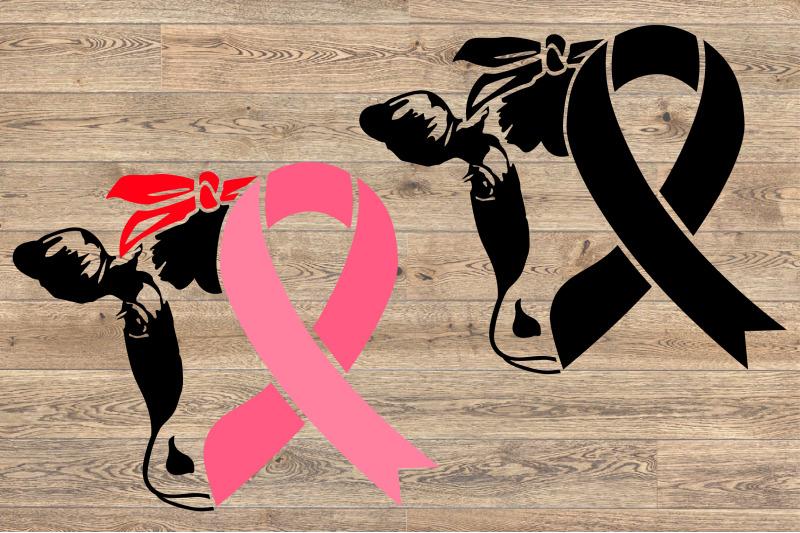 Cow Head Whit Bandana Breast Cancer Ribbon Svg Love Faith Hope
