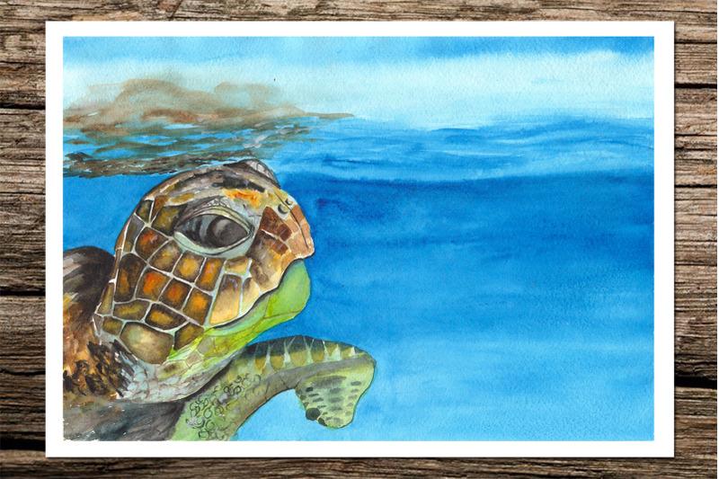 sea-turtles-watercolor-landscapes