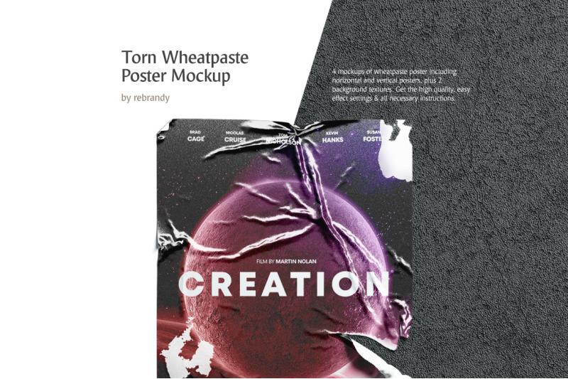 Free Torn Wheatpaste Poster Mockup (PSD Mockups)