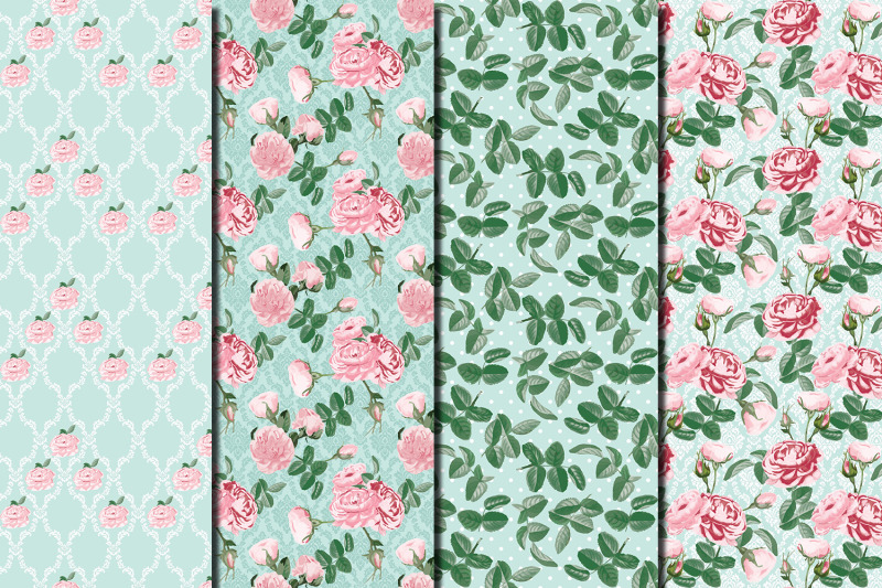 shabby-chic-pink-roses-seamless-patterns