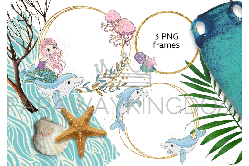mermaids-glitter-tropical-cartoon-vector-illustration-set-for-print