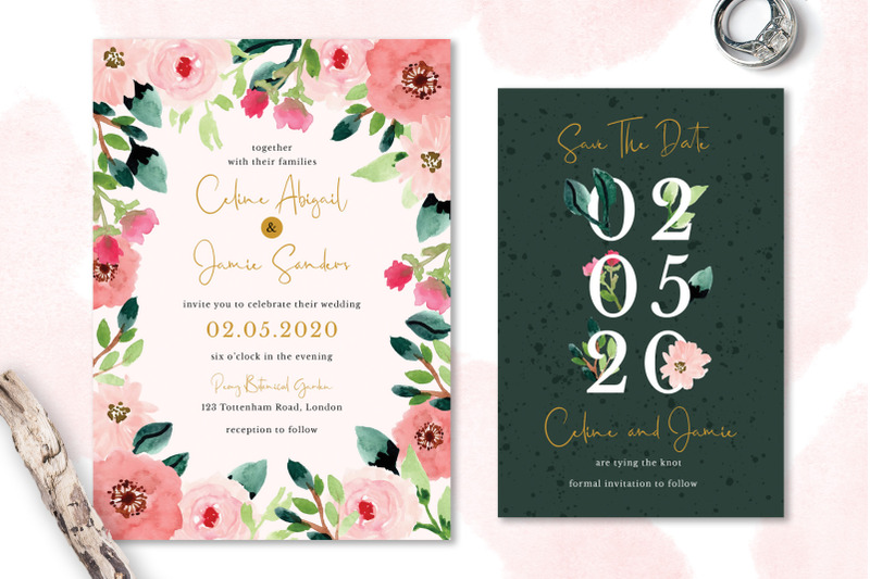 sweet-floral-wedding-invitation-set