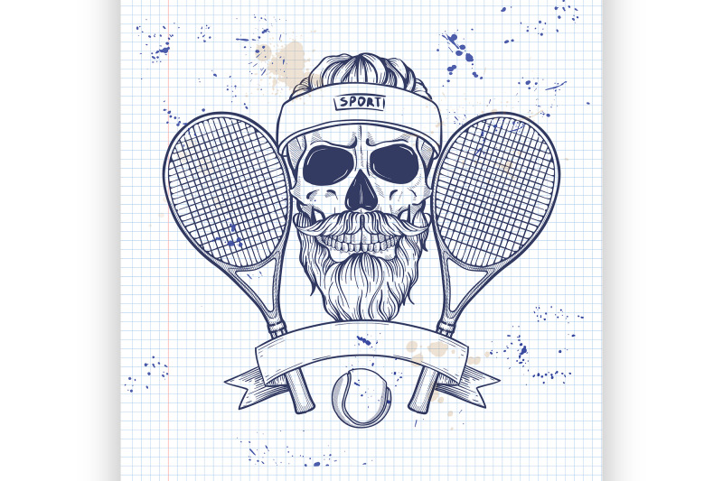 skull-with-tennis-racquets