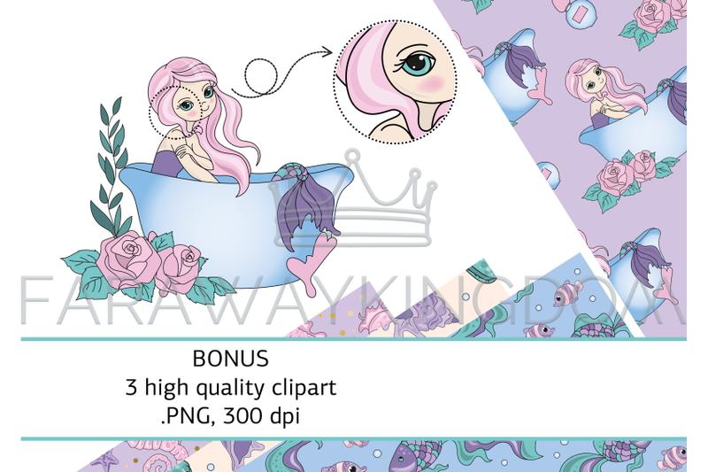 beauty-mermaid-sea-ocean-cartoon-vector-illustration-seamless-pattern