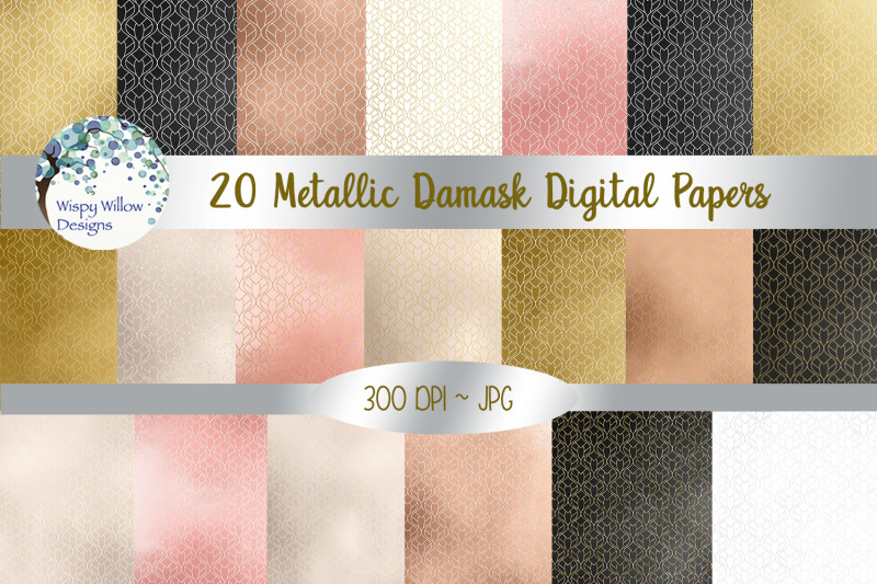 metallic-damask-digital-paper-pack