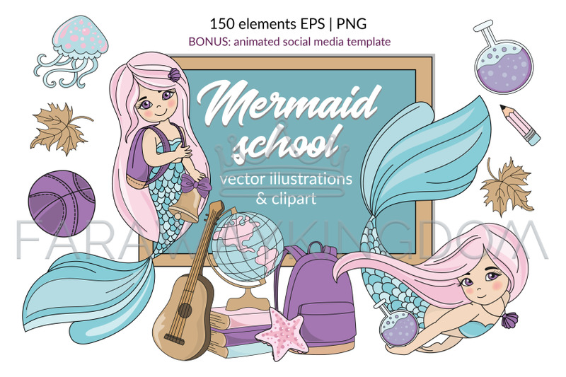 mermaid-school-underwater-vector-illustration-animation-set