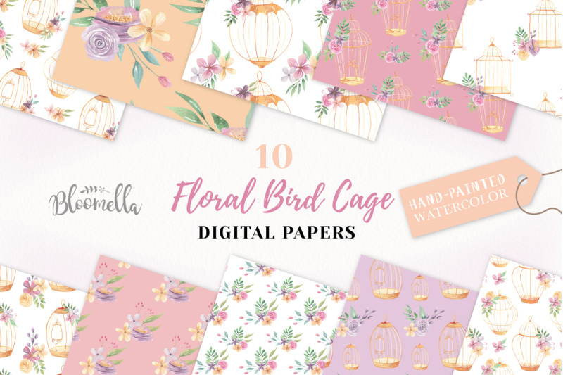 birdcage-seamless-patterns-floral-watercolour-flower-digital-papers