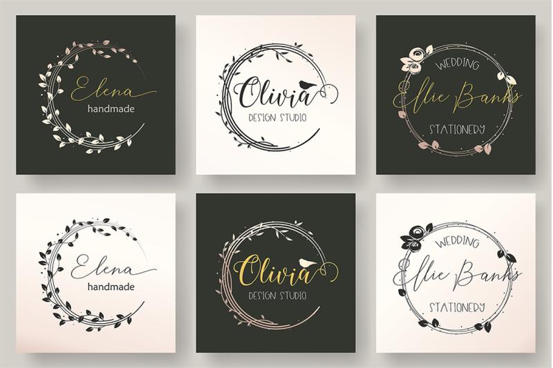 set-of-3-feminine-logo-template
