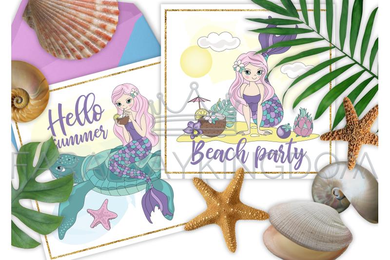 mermaid-vacation-glitter-cartoon-vector-illustration-set-for-print