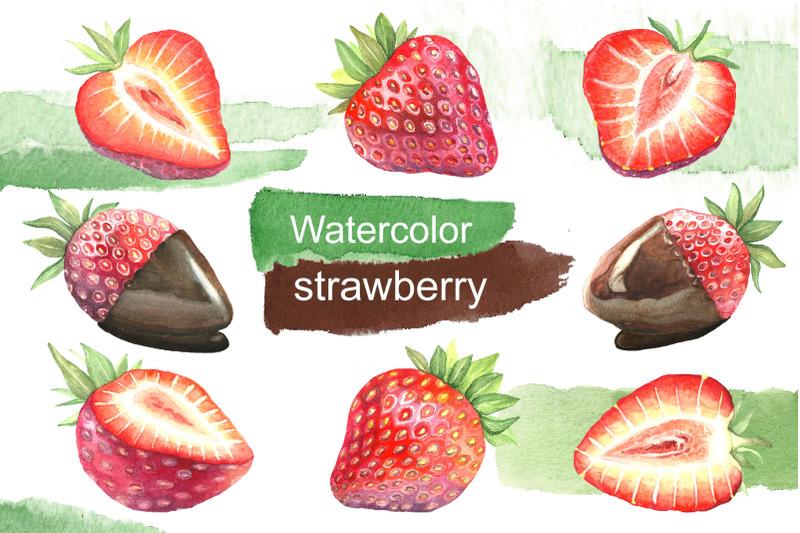watercolor-strawberry-dessert