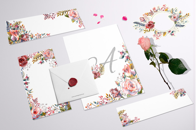pink-rose-watercolor-set-of-flowers-leaves-and-berries