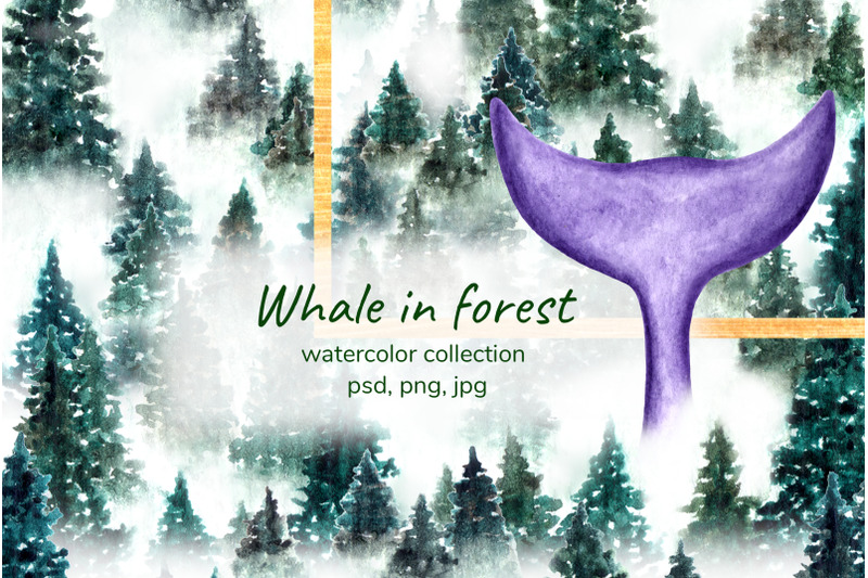 watercolor-whale-in-forest
