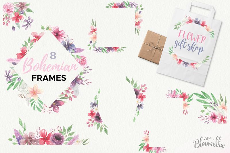 watercolour-clipart-bohemian-floral-wedding-boho-flowers-wreaths-kit