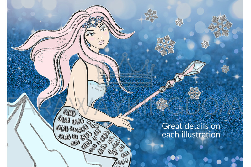 Ice Mermaid Glitter Winter New Year Vector Illustration Set For