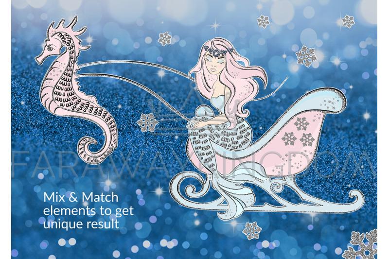 ice-mermaid-glitter-winter-new-year-vector-illustration-set-for-print