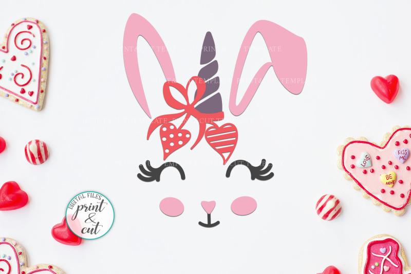 Bunny Rabbit Faces With Flowers Unicorn Horn Crown Bandana Clip