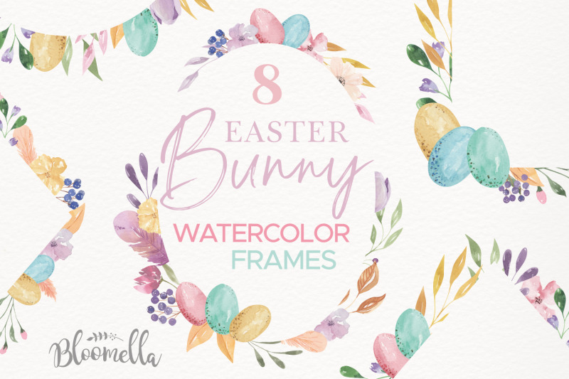 watercolour-8-frames-egg-spring-borders-pretty-painted