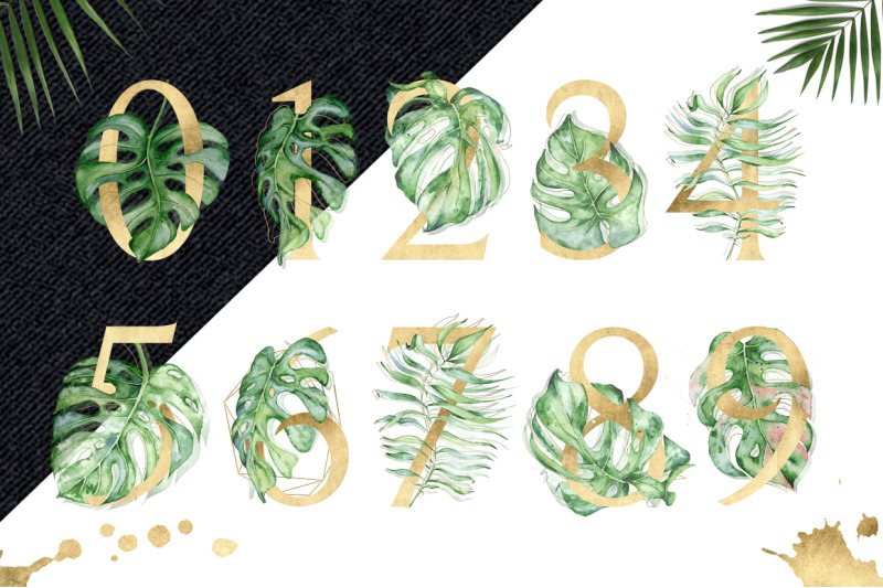 gold-monstera-tropical-leaves-alphabet