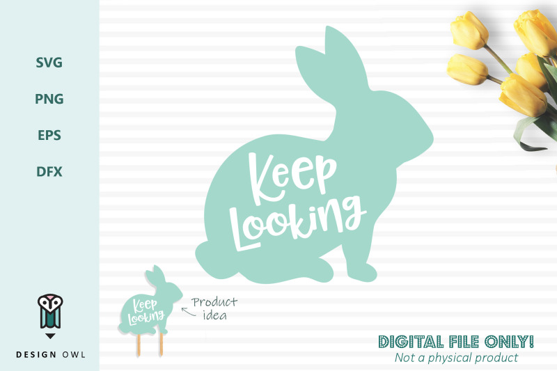 keep-looking-bunny-sign-svg-file
