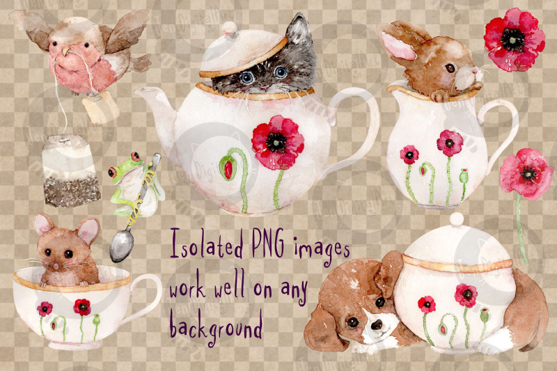 animal-tea-set-8-watercolor-clip-art-illustrations-png-jpg