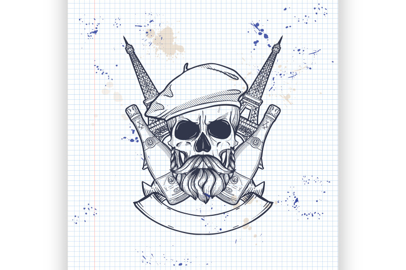 sketch-french-skull