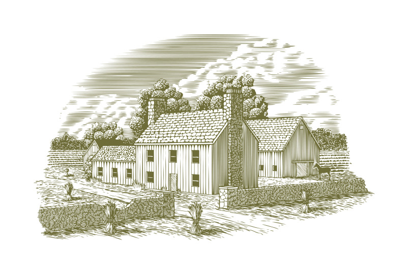 woodcut-english-farmhouse