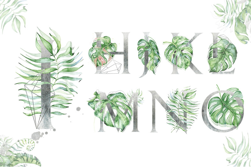silver-monstera-tropical-leaves-alphabet