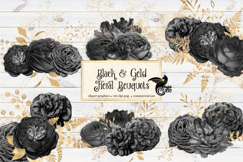 black-and-gold-floral-bouquets-clipart