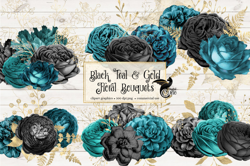 black-teal-and-gold-floral-bouquets-clipart