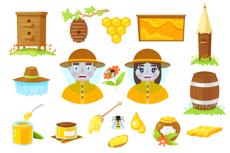 apiary-cartoon-icons-patterns-cards
