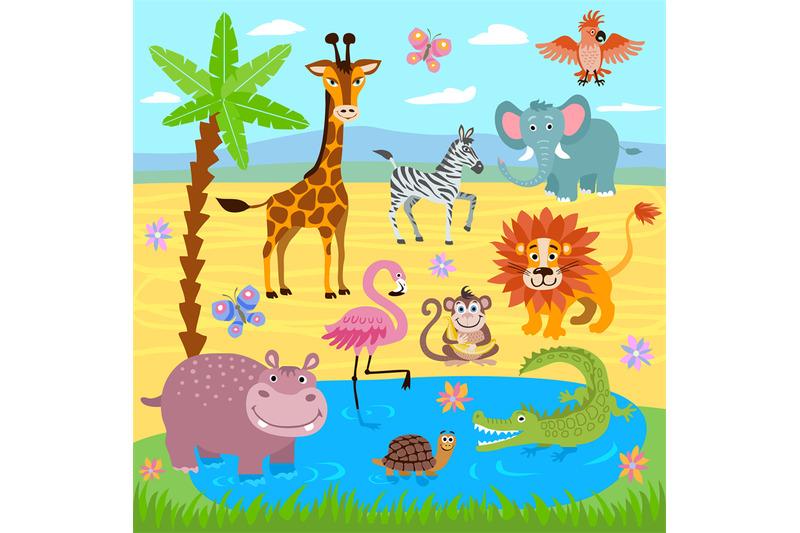 baby-jungle-and-safari-zoo-animals-vector-nature-background