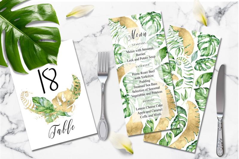 tropical-gold-wedding-invitation-suit