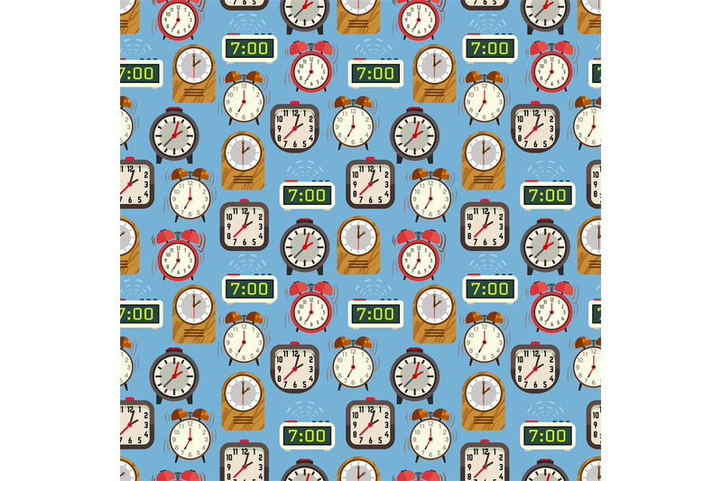 seamless-pattern-with-colorful-alarm-clocks-on-blue-backdrop