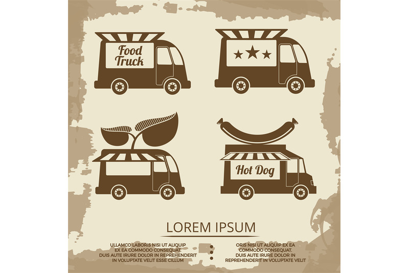 food-trucks-set-vintage-poster-with-food-truck