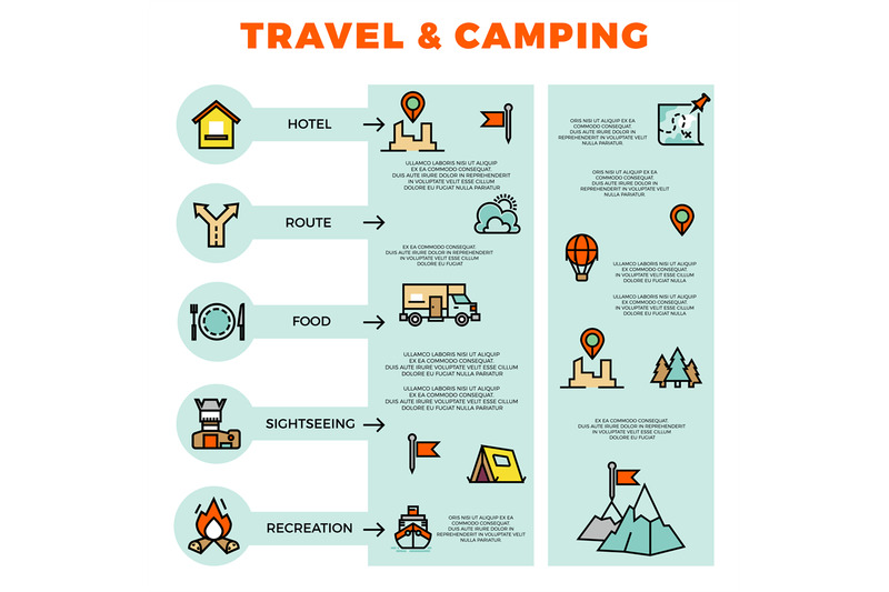 travel-and-camping-colorful-infographic-with-line-icons