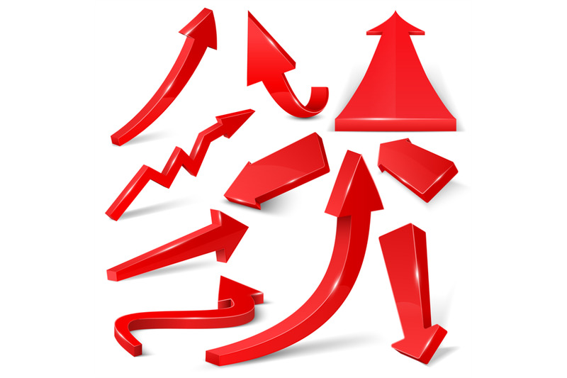 glossy-red-3d-arrows-isolated-on-white-vector-set