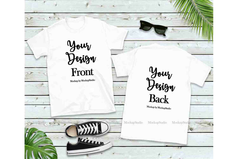 Front & Back Blank Tshirt Mockup Bundle, 5 Colors Gildan Tee