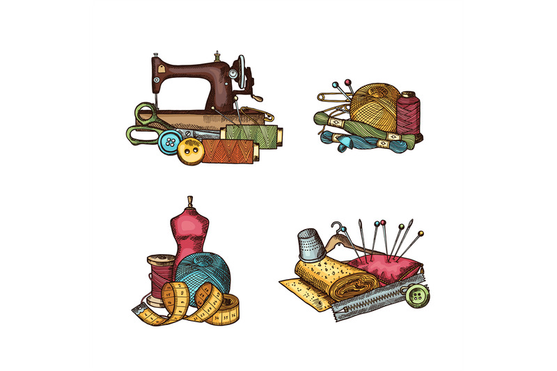 vector-set-of-hand-drawn-sewing-elements-piles-illustration