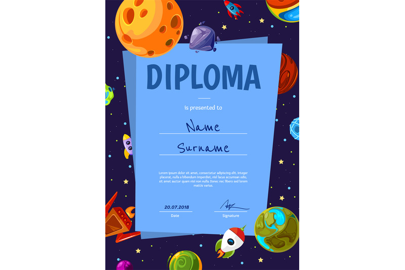 vector-certificate-template-with-with-cartoon-space-planets-and-ships