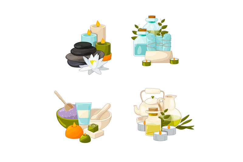vector-set-of-cartoon-beauty-and-spa-elements-piles-illustration