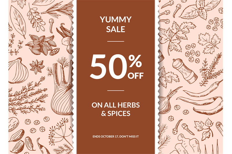 vector-hand-drawn-herbs-and-spices-sale-background-with-ribbon-and-pla