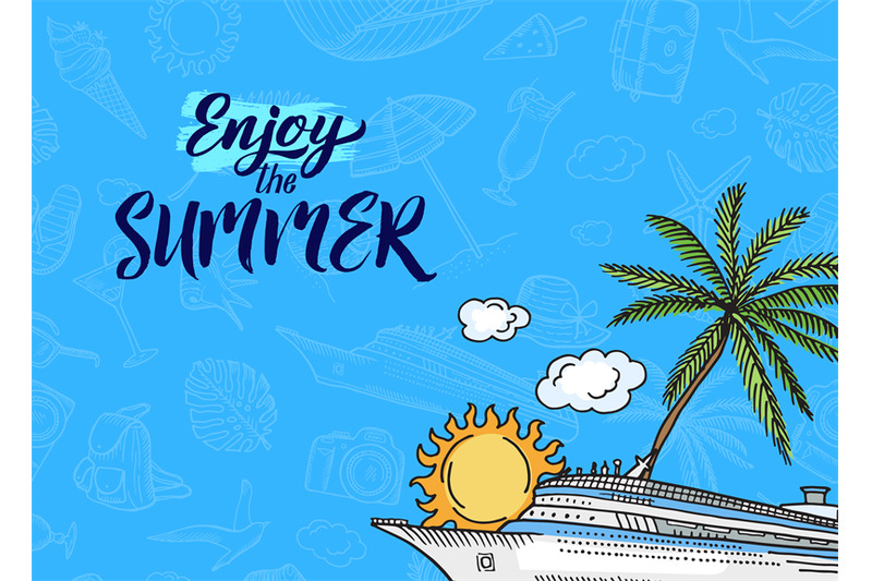 vector-hand-drawn-summer-travel-elements-background-with-place-for-tex