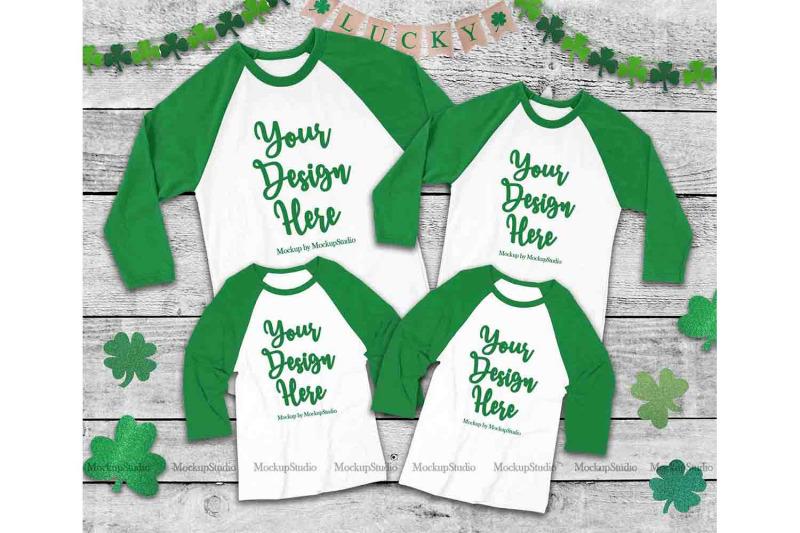 Free Matching Family St Patrick's Raglan Mockup, Green Raglan Tee (PSD Mockups)