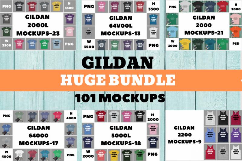 Free Gildan Huge Bundle Mockup|2000L|64V00L|2000|64000|5000L|2200 (PSD Mockups)