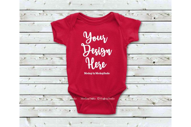 Free Newborn Infant Toddler Red Blank Baby Bodysuit Mockup (PSD Mockups)
